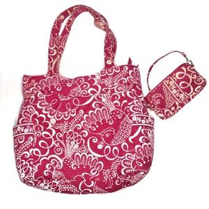 Vera Bradley pink flower tote & wristlet